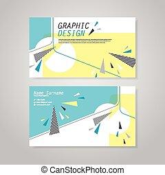 modny, handlowa karta, szablon, projektować