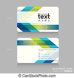 modny, handlowa karta, szablon, z, zieleń i błękitna, strzała, tło