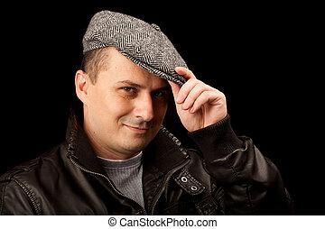 modny, kapelusz, młody mężczyzna
