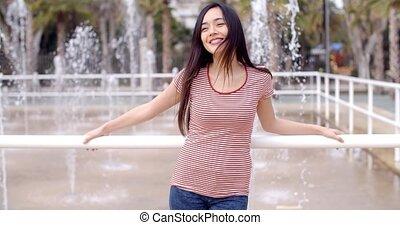 modny, młoda kobieta, outdoors, w, lato