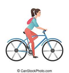 modny, nachylenie, kolor, wektor, dorosły, młoda kobieta, jeżdżenie rower, isolated.