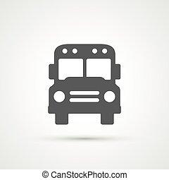 modny, płaski, autobus, icon., wektor