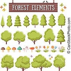 modny, płaski, elementy, komplet, las