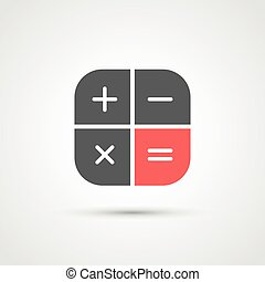modny, płaski, kalkulator, icon., wektor