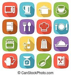modny, płaski, kuchnia, i, gotowanie, icons., wektor