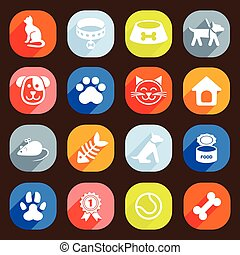 modny, płaski, pies, i, kot, icons., wektor, elementy