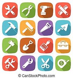 modny, płaski, pracujący, narzędzia, icons., wektor