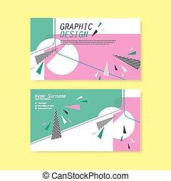 modny, projektować, handlowa karta, szablon