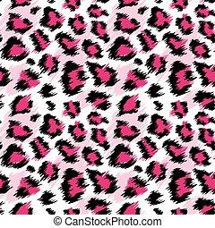 modny, różowy, lampart, seamless, pattern., stylizowany, dropiaty, lampart skóra, tło, dla, fason, druk, tapeta, fabric., wektor, ilustracja