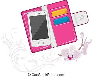 modny, różowy, portmonetka, damski