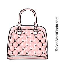 modny, skóra, różowy, torba, odizolowany, ilustracja