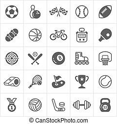 modny, sport, płaski, icons., wektor