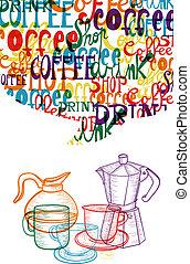 modny, sprytny, kawa, pojęcie