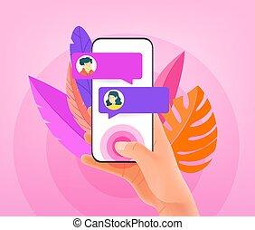 modny, styl, smartphone, człowiek, nowoczesny, concept., ...
