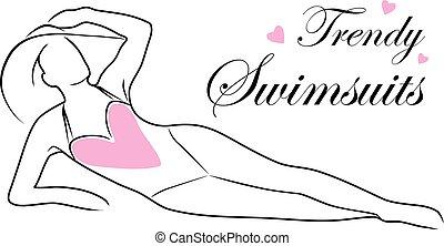 modny, swimsuits., ikona, dla, fason zamiar