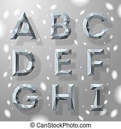 modny, szary, fractal, geometryczny, alfabet, część, 1.