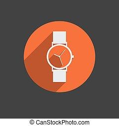 modny, wektor, zegarek na rękę, ikona