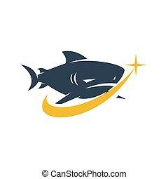 modo, disegno, squalo, logotipo, successo, vettore, isolato, illustrazione