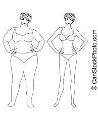 modo, donna, peso, perdere