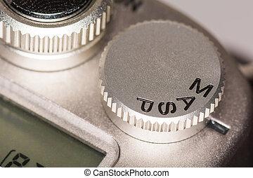 modo, quadrante, su, macchina fotografica slr