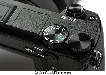 modo, selezione, quadrante, su, uno, mirrorless, macchina fotografica