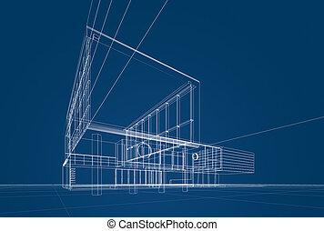 modrák, architektura
