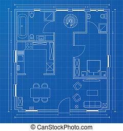 modrák, floorplan