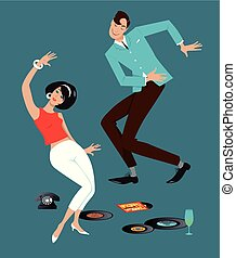 Mod couple dressed in early 1960s fashion dancing the Twist, vinyl records, vintage telephone and a glass on the floor, EPS 8 vector illustration