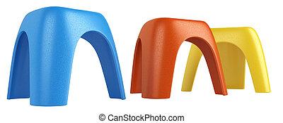 modular, colorido, tres, taburetes