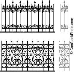 modular, grades, ferro forjado