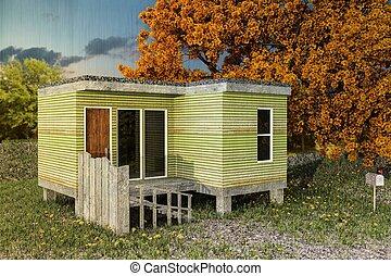 modular house - 3d illustration of a modular house on a...