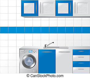 Modular Kitchen in Blue and Silver