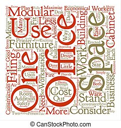 Modular Office Furniture text background word cloud concept