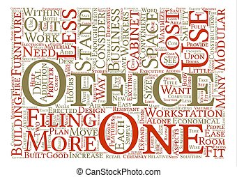 Modular Office Furniture Word Cloud Concept Text Background