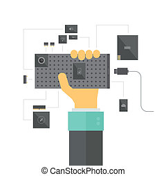 Modular smartphone concept illustration - Modular smartphone...