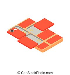 Modular smartphone icon, isometric 3d style