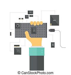 modulare, smartphone, concetto, illustrazione