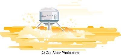 module, planète, atterrissage, surface, atterrissage