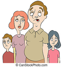 moe, of, verveeld, gezin