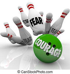 moed, vs., vrees, bowling bal, staking, spelden, moed