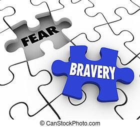 moed, vs, vrees, puzzelstuk, vullen, gat, moed, vertrouwen