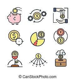 moeda, ícone, jogo, cor