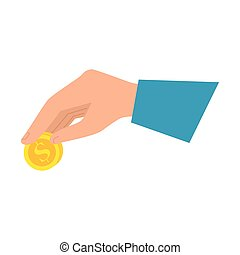 moeda, branca, isolado, fundo, mão
