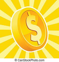 moeda, brilhante, ouro
