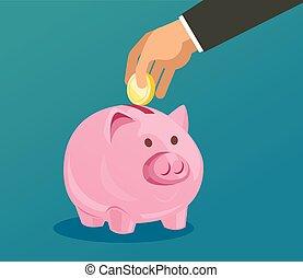 moeda, cofre, mão