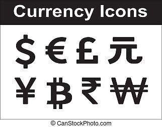 moeda corrente, ícones, set.