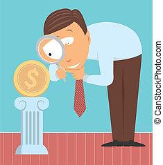 moeda corrente, analisar, perito, dinheiro