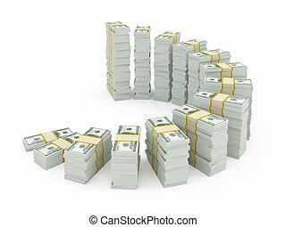 moeda corrente, branca, dólar, isolado, pilhas