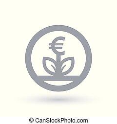 moeda corrente, conceito, crescimento, euro, ícone