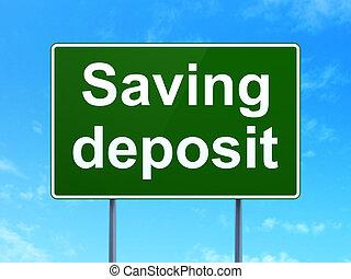 moeda corrente, concept:, poupar, depósito, ligado, sinal estrada, fundo